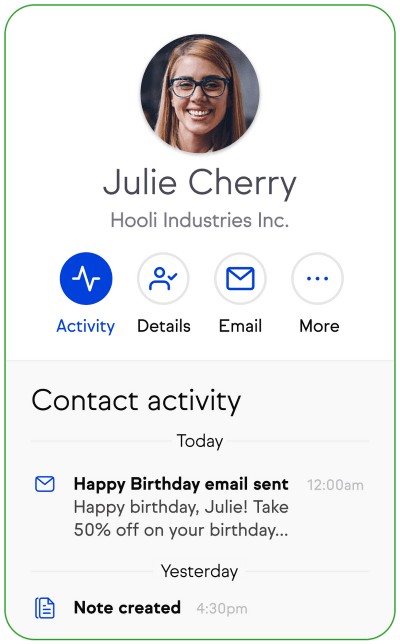 CRM contact record activity